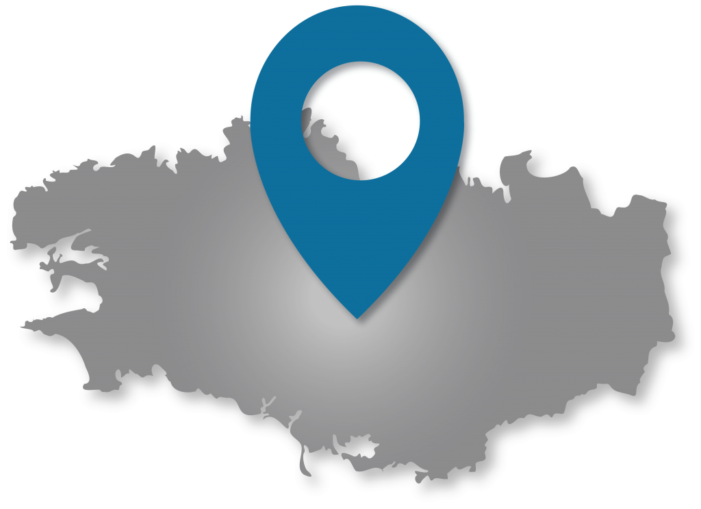 silhouette de la bretagne avec une épingle de localisation